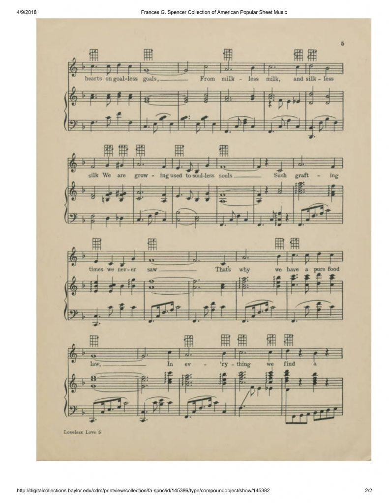 """Sheet music for W. C. Handy's """"Loveless Love"""""""