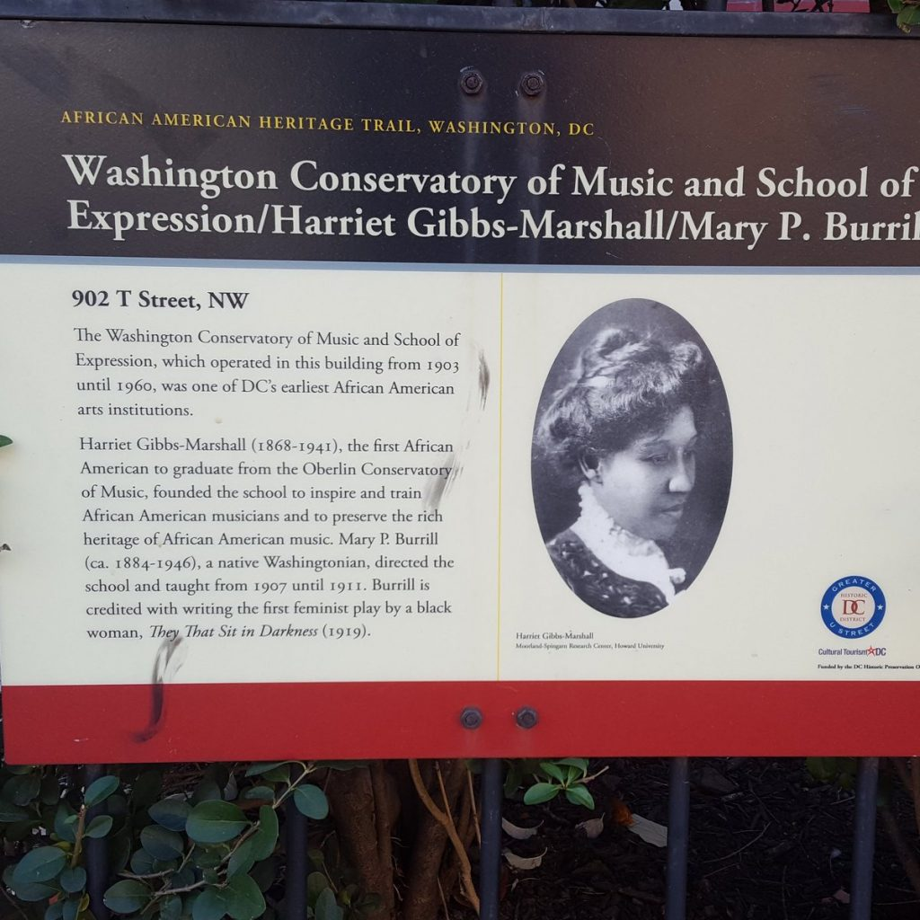 Photo of historical marker honoring the Washington Conservatory of Music and School of Expression, Harriet Gibbs-Marshall, and Mary P. Burrill