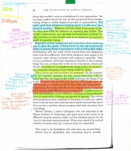 Annotative student work on Henry Petroski's The Evolution of Useful Things