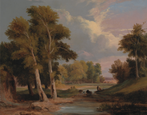 A Wooded River Landscape with Fisherman by James Arthur O'Connor
