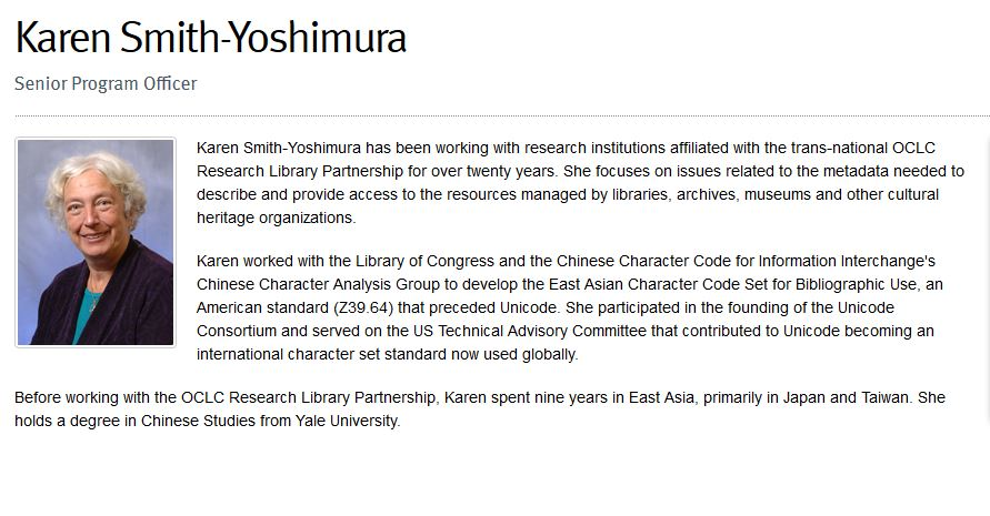 Karen Smith-Yoshimura's profile at OCLC Research http://www.oclc.org/research/people/smith-yoshimura.html