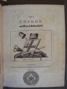 "Title page from Walpole's copy of Thomas Pennant's ""Of London"""