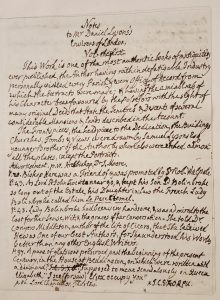 First page of Walpole's manuscript notes from volume 1