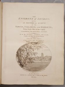 title page from volume 1 of Walpole's copy of Lyson's Environs of London