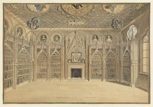 Library at Strawberry Hill drawing by Edward Edwards