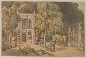 Garden and entrance to a Neo-Gothic house - Strawberry Hill, 1809 (circa), Thomas Rowlandson (1757 - 1827). Accession number D.1952.RW.3600. © The Samuel Courtauld Trust, The Courtauld Gallery, London.