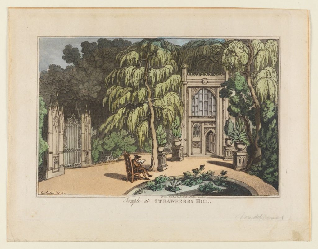 A view of the front of the temple at Horace Walpole's home Strawberry Hill includes the circular garden and the ornamental urns planted with small trees leading to the temple's entrance. To the left the doors of the large iron gates are closed. A man sits reading in a bench in the middle of the image, beside the circular garden in front of the temple.