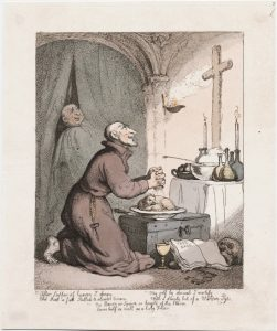 "hand-colored etching of ""Monastic Fare"""