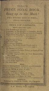"Printed advertisement--page of text within a border. Headed ""Teggs New Pamphlets"""