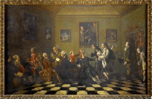 A gathering at the Casa Manetti, Florence, showing a group of men in eighteenth-century dress, by Thomas Patch
