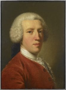 Portrait of Sir Horace Mann, eighteenth-century bewigged gentleman facing right, wearing a red coat