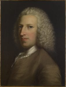 Portrait of Galfridus Mann, eighteenth-century bewigged gentleman facing left, wearing a brown coat