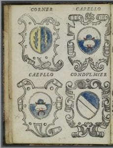 "page from ""Le arme overo insegne di tutti li nobili della magnifica, & illustrisima cit à de Venetia, c'hora viuono"" showing HW's mark at the Capello arms"