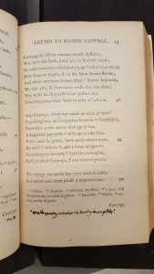 page from Chatterton's poems with Walpole manuscript note