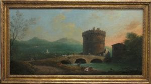 Landscape showing a bridge and tower with blue mountains in the distance, painted by Thomas Patch