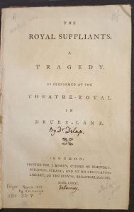 front page of a play from Walpole's collection that Lewis acquired from Folger Shakespeare Library