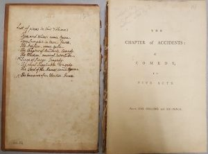 Inside front cover of one of Walpole's volumes of plays