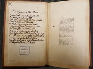 inside front cover of Tracts of George 3 volume 39 showing list of contents in Walpole's hand