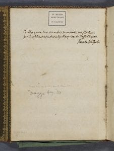 Image of page in book with manuscript provenance note in brown ink