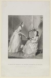 Duchesse de Choisel, and Madame la Marquise Du Deffand [graphic] : (from the original formerly at Strawberry Hill) / M. Carmontel, del. ; W. Greatbach sculp.