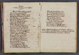 double page spread of bound manuscript in Walpole's hand