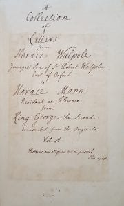 Collections of Letters from Horace Walpole manuscript title page