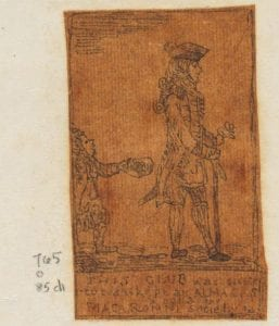 drawing on dark orange paper of a man facing right with a child behind holding out a cap