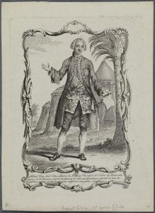 Etching of a full figure of a man facing front with tents and a palm tree behind
