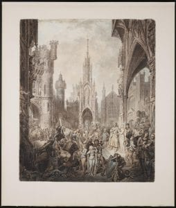 Watercolor drawing of a busy crowd scene of people in medieval dress surrounded by gothic buildings