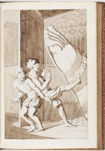 brown wash drawing of two men cringing away from a giant foot in a sandal above them