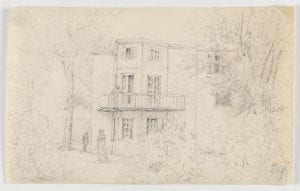 pencil sketch of house amidst trees and shrubbery
