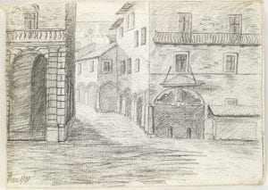 landscape sketch of a street in Pisa with buildings on either side of a street leading into the distance