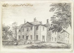 pencil landscape sketch showing the south front of Goodwood, a country house in Sussex England