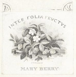 Mary Berry's bookplate cluster of strawberries & flowers