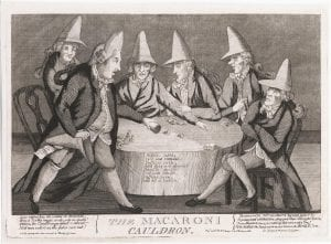uncolored etching showing men seated around a gaming table