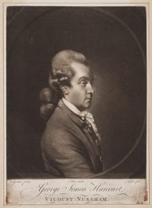 Mezzotint of man in profile facing right