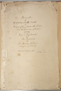 Memoirs title page in manuscript
