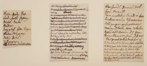 Three scraps with manuscript notes