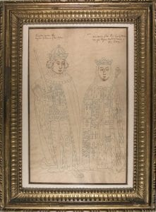 Pen and ink line drawing of a king and queen shown full length