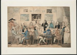 Sixteen men are seated at an oval table in Windsor arm-chairs smoking long-stemmed tobacco pipes, drinking from glasses and tankards, and engaging in conversation.