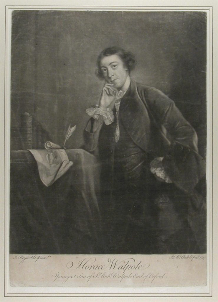 Portrait of Walpole standing three-quarter length to left and leaning his right elbow on table, his right hand to his cheek, eyes to front, wearing plain coat and waistcoat, lace collar and cuffs;
