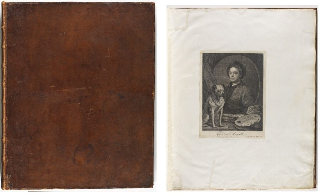 cover of Steevens volume and page from folio with print of Hogarth