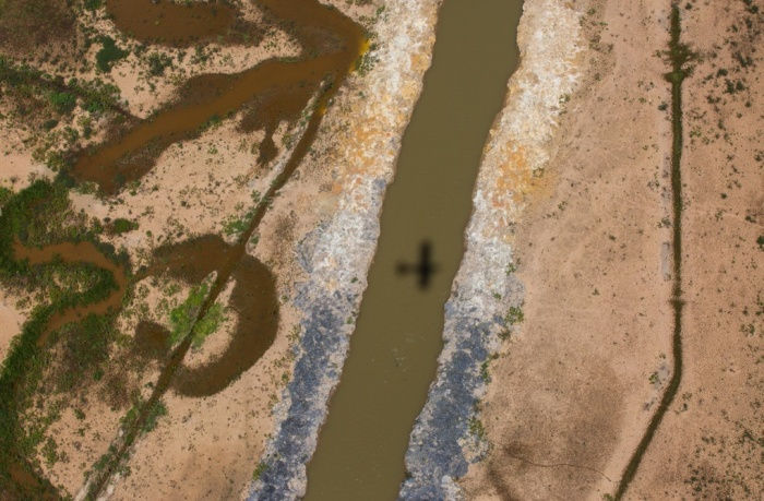 An aerial photograph of a part of the Cantareira water system shows how low the water levels of this important water source are. (Image from theguardian.com.)
