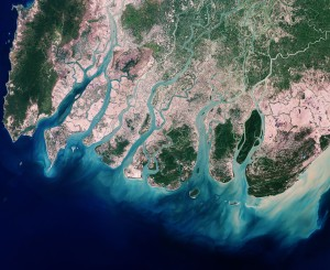 An aerial view of the Ayeyarwady delta region.