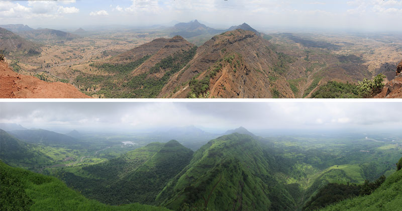 Panorama Point on the Matheran Hill about 50 miles east of Mumbai, India, during the dry monsoon season in winter and the wet monsoon season in the summer.