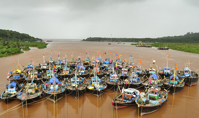 Fishing boats in south Asia