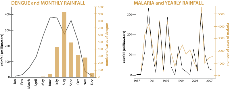 During months with less rainfall in Bangladesh, there is less dengue.  Years with heavy rainfall in India tend to have more malaria cases.