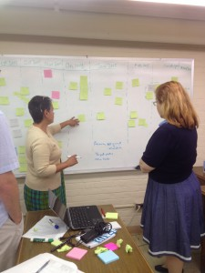Here, as part of a planning session, Mary and Melissa are talking through which tasks need to be performed in sequence.