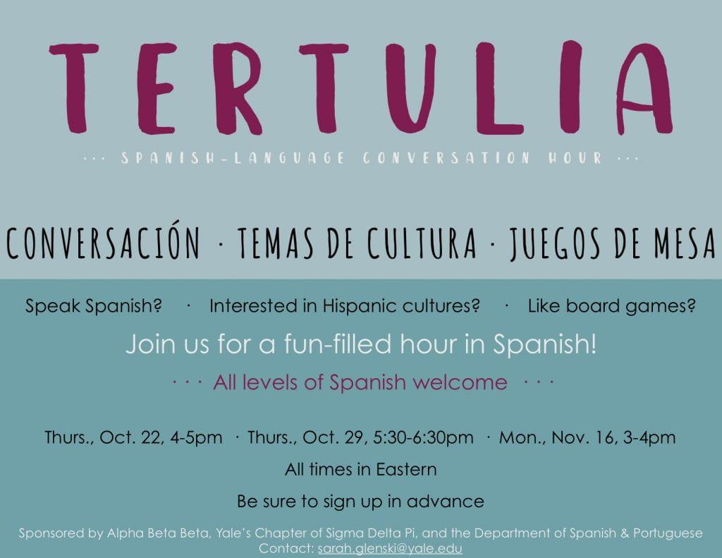 Poster for Tertulia. Spanish-Language Conversation Hour