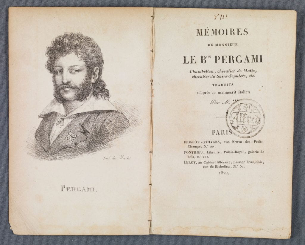 Mémoires de monsieur le b[ar]on Pergami . Title page
